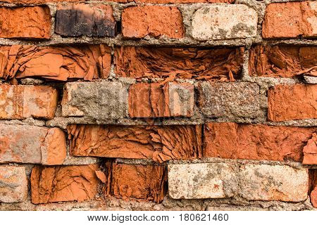 Fragment of weathered red brick wall texture or background.