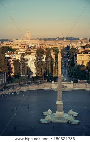 Piazza del Popolo at sunset in Rome, Italy.
