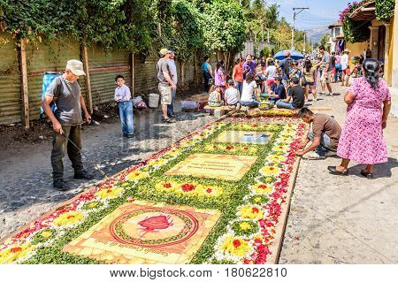 Antigua, Guatemala - March 26 2017: Locals make Lent procession carpets of flowers in colonial town with most famous Holy Week celebrations in Latin America.