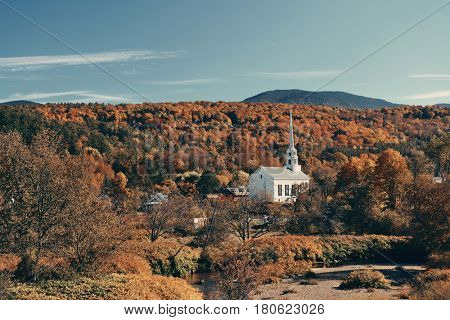 Autumn foliage and church in New England area.