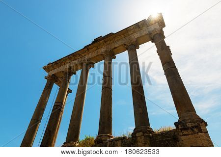 Ruins of the Temple of Saturn in the Roman Forum in Rome, Italy