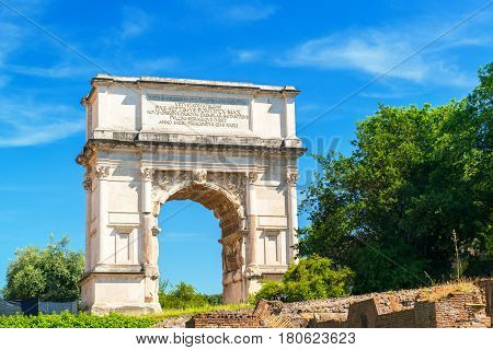 The Arch of Titus in Roman Forum in Rome, Italy
