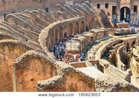 ROME - MAY 10: Inside Colosseum on may 10, 2014 in Rome, Italy. TheColosseum is an important monument of antiquity and is one of the main tourist attractions of Rome.