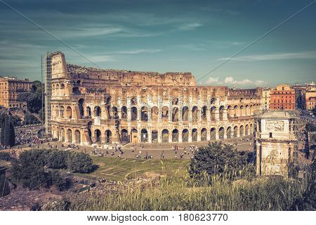 Panoramic view the Colosseum (Coliseum) in Rome, Italy. The Colosseum is the main tourist attractions of Rome. It was built in the 1st century.