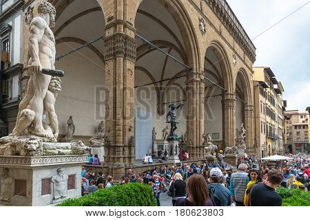 FLORENCE, ITALY - MAY 11, 2014: Piazza della Signoria (Signoria square) with Renaissance sculpture. This place is one of the main attractions of the city.
