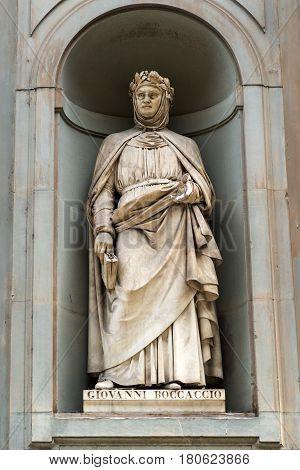 Giovanni Boccaccio statue in the courtyard of the Uffizi Gallery in Florence, Italy