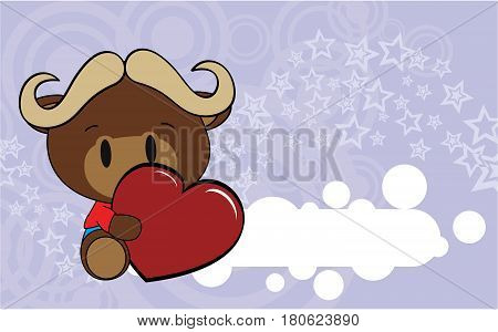 cute baby oxen valentine cartoon hug heart background in vector format