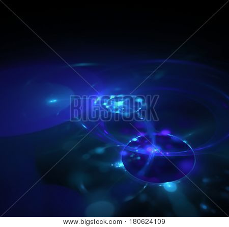 Black Abstract Background, Fractal Texture. Blue Eclipse In Dark Space With Bokeh. Purple Energy Rin