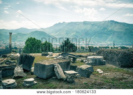Ruins of Pompeii near Naples, Italy. Pompeii is an ancient Roman city died from the eruption of Mount Vesuvius in 79 AD.