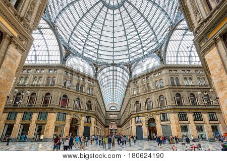NAPLES, ITALY - MAY 13, 2014: Galleria Umberto I. This is a public shopping gallery in Naples.