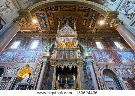 ROME, ITALY - MAY 14, 2014: Interior of the Basilica di San Giovanni in Laterano (Papal Archbasilica of St. John Lateran) in Rome, Italy.This basilica is the most important in the Catholic world.