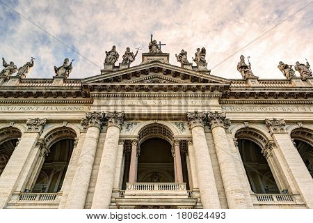 Basilica di San Giovanni in Laterano (Papal Archbasilica of St. John Lateran) in Rome, Italy.This basilica is the most important in the Catholic world.