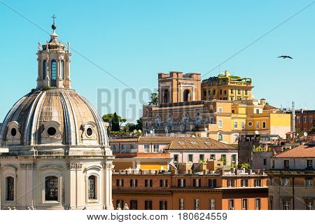 View of Rome, Italy. The church of Santa Maria di Loreto in the foreground.