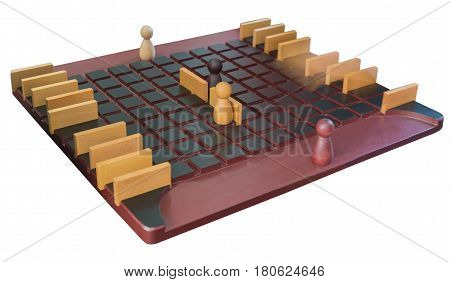 board game wooden figures isolated on white background
