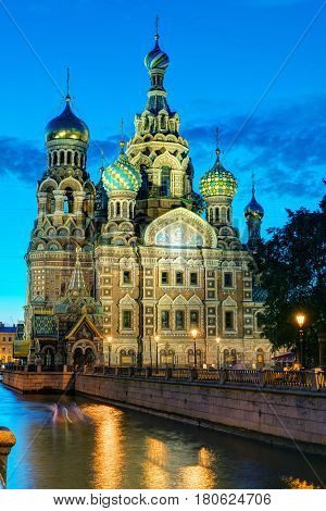 Church of the Savior on Spilled Blood (Cathedral of the Resurrection of Christ) at White Night in St. Petersburg, Russia. It is a landmark of city and a unique monument to Alexander II the Liberator.