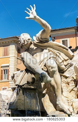 Detail of the Fountain of the Four Rivers at the Piazza Navona in Rome, Italy
