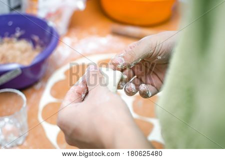 girl in the kitchen by the hand sculpts dumplings mistress