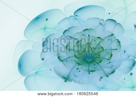 Abstract White Background With Blue And Green Flower In Backlight Texture, Fractal Pattern