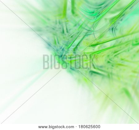 Abstract white fractal background. Green diagonal pattern. Transparent sharp rays texture. Fresh greenish pikes blurred on background.