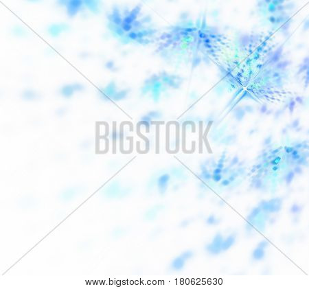 Abstract white fractal background. Transparent feathery texture. Blue and turquoise spots pattern. Ice and snowflakes blurred on background.
