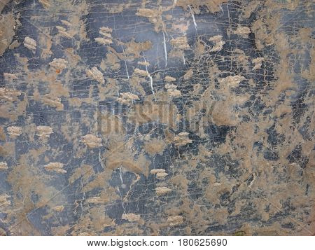 Old Stone Background Texture. Cobblestone Floor Or Wall Rusty Pattern. Black Rock Scratched With Bro
