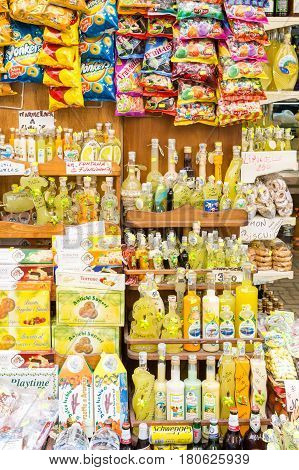 SORRENTO ITALY - May 4 2013: Sorrento has long been known for its lemon and other citrus products particularly its Limoncello.