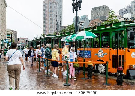 BOSTON MASSACHUSSETTS - September 2 2013: Old Town Trolley Tours began in the early '70s in Key West Florida. They now have 130 trolleys in 7 cities.
