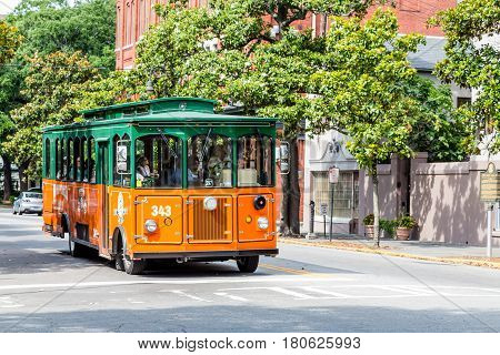 SAVANNAH GEORGIA - June 5 2014: Old Town Trolley Tours began in the early '70s in Key West Florida. They now have 130 trolleys in 7 cities.