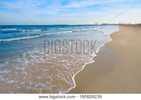 Valencia La Malvarrosa beach arenas in Spain
