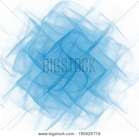 Abstract white folded background. Blue fractal fabric texture. Turquoise pleated centered pattern.