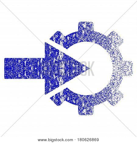 Cog Integration grunge textured icon. Flat style with unclean texture. Corroded vector blue rubber seal stamp style. Designed for overlay watermark stamp elements with grainy design.