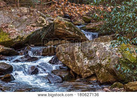 Colt Creek near Saluda North Carolina traverses a ocky path downstream.