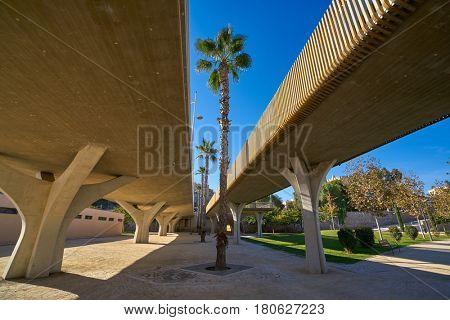 Valencia Pont de fusta bridge de Madera low angle view in Turia gardens park
