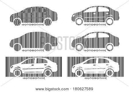 Barcode car. Set design elements of car market automotive repair. Isolated on white background. Vector illustration
