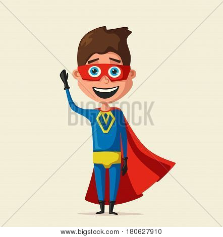 Kid in costume of superhero. Cartoon vector illustration. Hero character. Justice and help. For banners and posters. Cute child