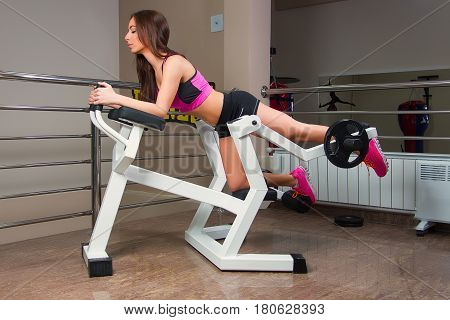 Attractive girl in sport clothing exercising in gym