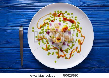 Ceviche recipe modern gastronomy style molecular cuisine poster