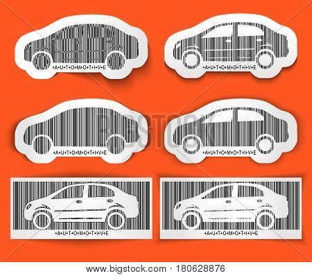 Set of labels barcode Automotive isolated on orange. Bright car concept. Vector illustration