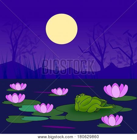 A frog resting on a lily leaf in a pond with water lilies in the moonlight.