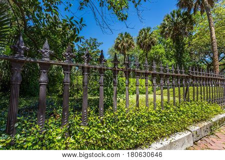 An old ironwork fence in the downtown historic district of Savannah Georgia.
