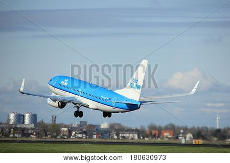 Amsterdam the Netherlands - April 7th 2017: PH-BGW KLM Royal Dutch Airlines Boeing 737 takeoff from Polderbaan runway Amsterdam Airport Schiphol
