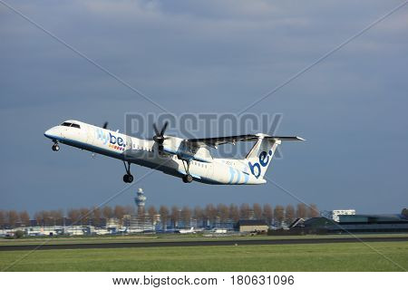 Amsterdam the Netherlands - April 7th 2017: G-JECO Flybe De Havilland Canada DHC-8-402Q Dash 8 takeoff from Polderbaan runway Amsterdam Airport Schiphol