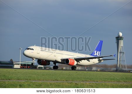 Amsterdam the Netherlands - April 7th 2017: OY-KBL SAS Scandinavian Airlines Airbus A321 takeoff from Polderbaan runway Amsterdam Airport Schiphol