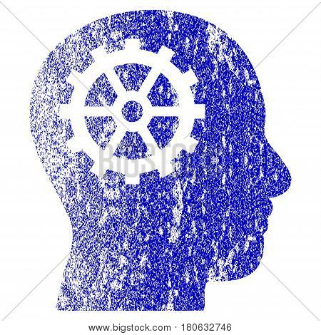 Intellect grunge textured icon. Flat style with unclean texture. Corroded vector blue rubber seal stamp style. Designed for overlay watermark stamp elements with grainy design.