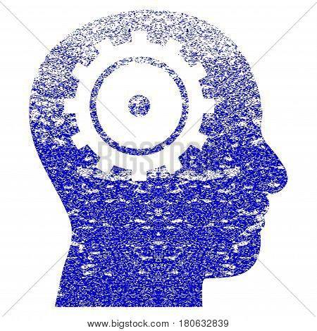 Intellect grunge textured icon. Flat style with dust texture. Corroded vector blue rubber seal stamp style. Designed for overlay watermark stamp elements with grainy design.
