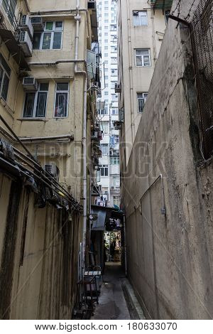 Narrow Backstreet In Kowloon, Hong Kong