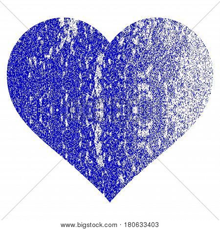 Love Heart grunge textured icon. Flat style with dust texture. Corroded vector blue rubber seal stamp style. Designed for overlay watermark stamp elements with grainy design.