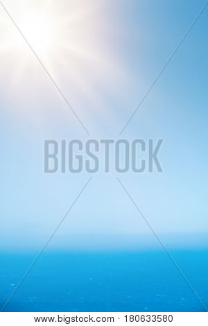 Beautiful hi-res blue sky sunrays and sea background