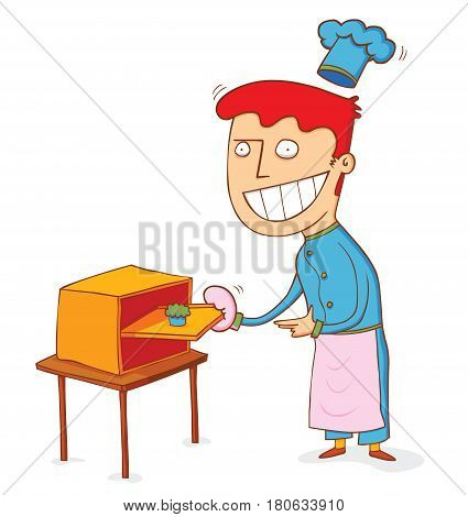 illustration of a man take out fresh from the oven cake