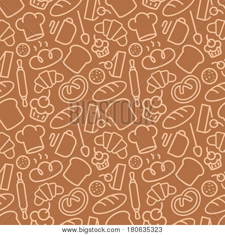 Bakery seamless pattern consisting of food and baking accessories line style for use decoration identity food market, cafe, bread house, cupcake firm, coffee shop, loaf store. Vector Illustration
